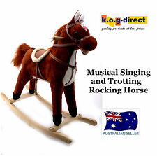 PLUSH KIDS ROCKING HORSE MOVES AND SINGS WITH WOODEN STAND & SADDLE CHESTNUT B17