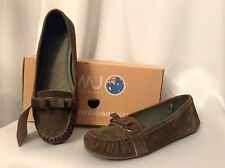 EMU Carmila Olive Loafer Suede Bow Womens Shoes Sz..8