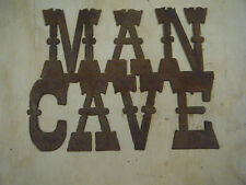 FREE SHIPPING Rustic Rusted Metal Man Cave Sign Wall Hanging