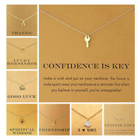 Inspirational Message Card Pendant Necklace Gold Plated Jewellery Love Luck Star