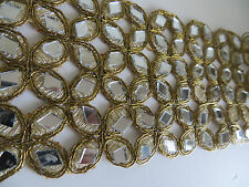 Glass Mirror 1ft Trimming Gold Lace Cut Work Trim Ribbon Craft Saree Border