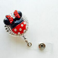 Bling Minnie Mouse retractable ID HOLDER badge reel lanyard retractor