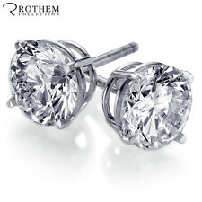 REAL GENUINE 1 CT ROUND SOLITAIRE WHITE GOLD DIAMOND STUD EARRINGS PIERCED EARS