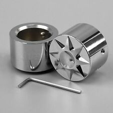 For Harley Dyna Touring Road King Aluminum Front Axle Cover Bolt Nut Cap Chrome