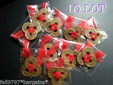 10 x Lot Feng Shui Lucky Chinese I-Ching 23mm Coins Set of 3, Red Ribbon I Ching
