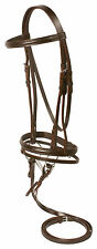 NEW BROWN ALL PURPOSE FLASH CAVESSON LEATHER ENGLISH HORSE BRIDLE SNAFFLE BIT