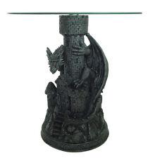 Table en verre avec pied dragon sur tour 60x61,5cm