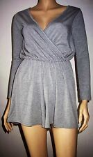 BOOHOO Slate Grey Long Sleeve V Neck Elastic Waist Casual Play Suit Size 8