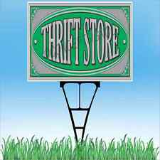 "18""x24"" THRIFT STORE Outdoor Yard Sign & Stake Sidewalk Resale Donation Clothing"