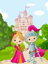 ART PRINT POSTER Nursery Favola Principessa Castello Cavaliere Kids BEDROOM lfmp0824