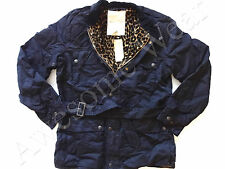 New Ralph Lauren Denim & Supply Cotton Blend Navy Leopard Lined Belted Jacket L