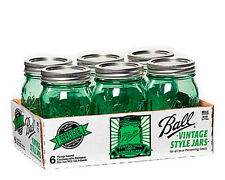 6 - Limited Addition Ball Vintage Style 16 Oz Pint Mason Canning Jars FAST SHIP!