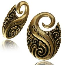 PAIR 6g (4mm) BALI TRIBAL SPIRAL TWISTS BRASS EAR WEIGHTS PLUGS STRETCH GAUGE