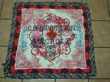 """Christian Lacroix Silk Scarf NWT  Large 90X90 or 34"""" sq. Signature w/Flame Heart"""