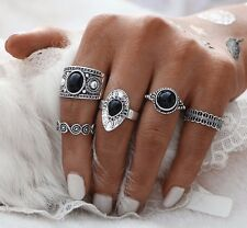 ETHNIC BOHO FESTIVAL BEACH SET 5 SILVER TONE KNUCKLE RINGS ASSORTED UK SELLER