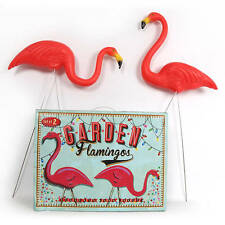 GIFT BOXED 2x Pink Flamingo Lawn Ornaments with Stakes Statues Outdoor  Pair