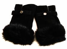 Beautiful Black Suede Leather Fingerless Gloves with Fur Trim