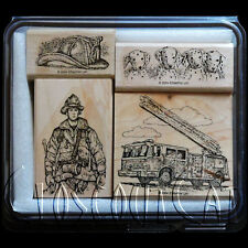 STAMPIN UP NEW Fire Brigade Fireman RARE STAMPS SET Fire Truck Dalmations Dogs