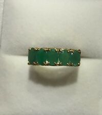 14k Solid Yellow Gold Band Ring with Natural Oval Emerald 2.55CT 3.20GM