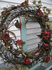 NEW Pottery Barn FALL Autumn Berry/Feather Botanical Grapevine Wreath Primitive+