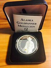 Alaska Mint 1 Oz Proof Silver Medallion 2015 Gold Panner With Real Gold Nugget