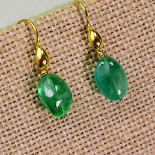 18K Solid Yellow Gold 6.5CT Emerald Nuggets Earrings