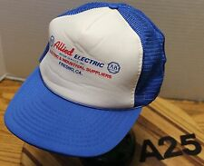 VINTAGE ALLIED ELECTRIC FRESON CALIFORNIA TRUCKERS HAT BLUE/WHITE SNAPBACK A25