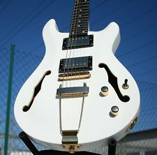 RS semi Hollow Body Double Cut humbucker Wilkinson sintonizzatore Set Neck MOGANO BIANCO