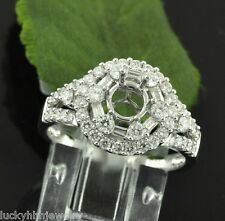 New Style 1.26 ct 18k Solid White Gold Semi Mount Natural Diamond Ring  baguette