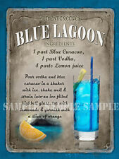 BLUE LAGOON COCKTAIL RECIPE,CAFE PUB, HOTEL, MAN SHED,HOME DECOR:METAL SIGN GIFT