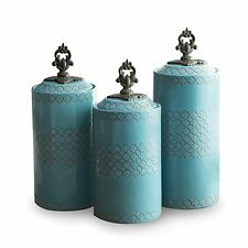 Set of 3 Kitchen Canister Food Storage Earthenware Antiqued Finish Blue