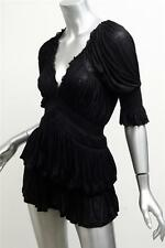 GIVENCHY Womens Black Knit 3/4-Sleeve Draped Ruched Blouse Top Shirt XS NEW NWT