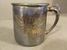 VINTAGE PROVIDENCE SILVER PLATE CO QUADRUPLE PLATE FLORAL ETECHED CUP MARKED 134