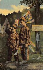 """Milwaukee WI Herman Reel Co """"The Reel Indians"""" """"None Better"""". Fishing Postcard"""