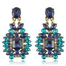 Fashion Women Lady Blue Crystal Rhinestone Ear Stud Earring Wedding Gift Jewelry