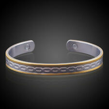Double Color Copper Magnetic Bracelet Arthritis Bio Pain Relief Pattern Bangle