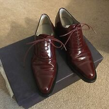 Prada Maroon Leather Vero Cuoio Oxford Flats Shoes Size 36 Made in Italy