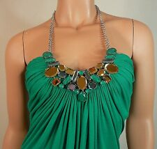 Sky Brand Emerald Green Dress Top with Silver Chain Crystal Necklace L Large