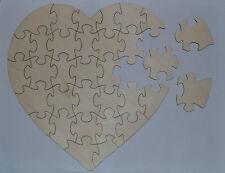 Plain Large Wooden Wedding Guest Book Heart Puzzle 33pc Jigsaw Decoupage 30cm