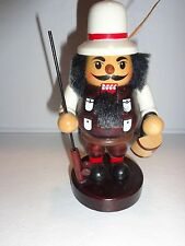 """WOOD NUTCRACKER FISHERMAN w FEATHER IN HIS HAT  5.5"""" HIGH  EUC"""