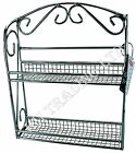 2 Tier Spice Rack Jar Holder Store Storage Metal Chrome Free Stand Wall Mounted