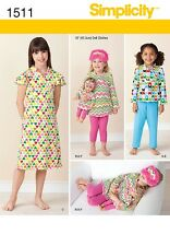 "Simplicity Pattern 1511 Child and 18"" Doll Matching Loungewear clothes pajamas"
