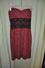 Taboo Goth Size Small Red Green Plaid Strapless Club Sexy Boned Black Lace Dress