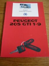 PEUGEOT 205 GTi  1.9 CAR SALES BROCHURE 1987