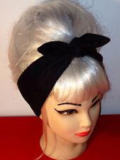 black faux leather suede Headband  Psychobilly Pinup Head Scarf 50' Wrap Bandana