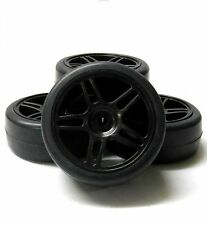 A20071 1/10 On Road Soft Tread Car RC Wheels Slick Tyres 5 Spoke Dual Black x 4