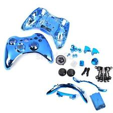 Full Housing Shell Case Buttons Part Kit for Xbox 360 Wireless Controller Blue