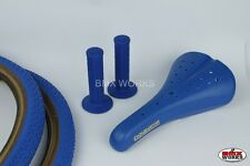 Freestyle BMX Package Tyres, Seat & Round Grips in Blue - Suit Haro Mongoose etc