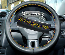 FOR VW CADDY FACELIFT 2010+REAL BLACK LEATHER STEERING WHEEL COVER YELLOW STITCH