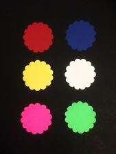 "60x Large scallop Circle Punch die cut pieces-2 1/4""  - 6 colors."